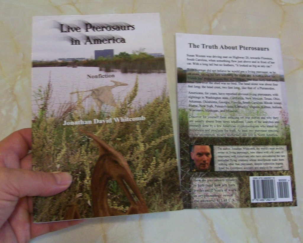 "Front and back covers of the third edition of the book ""Live Pterosaurs in America"""