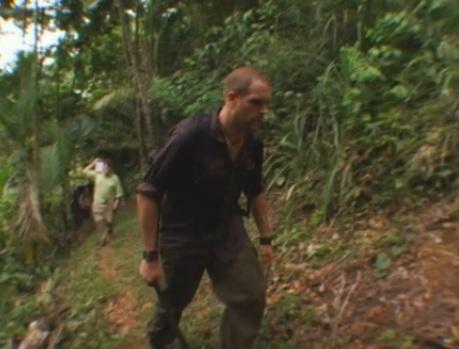 Josh Gates in a jungle in Papua New Guinea
