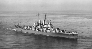 black and white image of an American World War II light cruiser ship