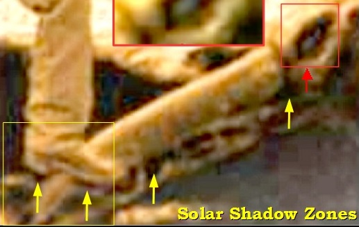 Photo enlarged, showing solar shadow zones - Clifford Paiva analysis